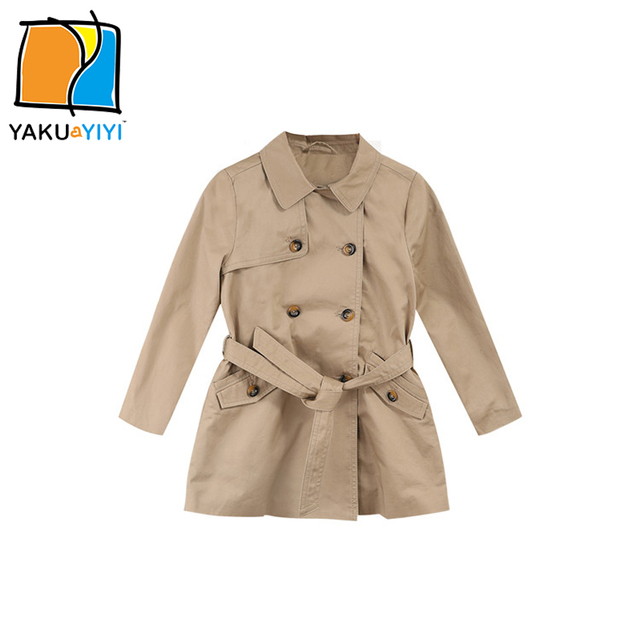 YKYY YAKUYIYI Khaki Girls Trench Coat Double Breasted Baby Girls Outerwear & Coat Pockets Belt Children Coat Girls Clothing