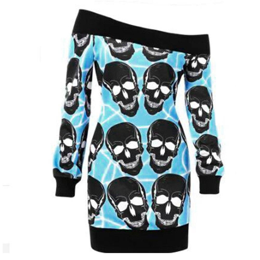 Women Fashion Blouse Plus Size hoodies Off Shoulder Long Sleeves Skulls Print Tops Blouse Sweatshirt sudadera mujer