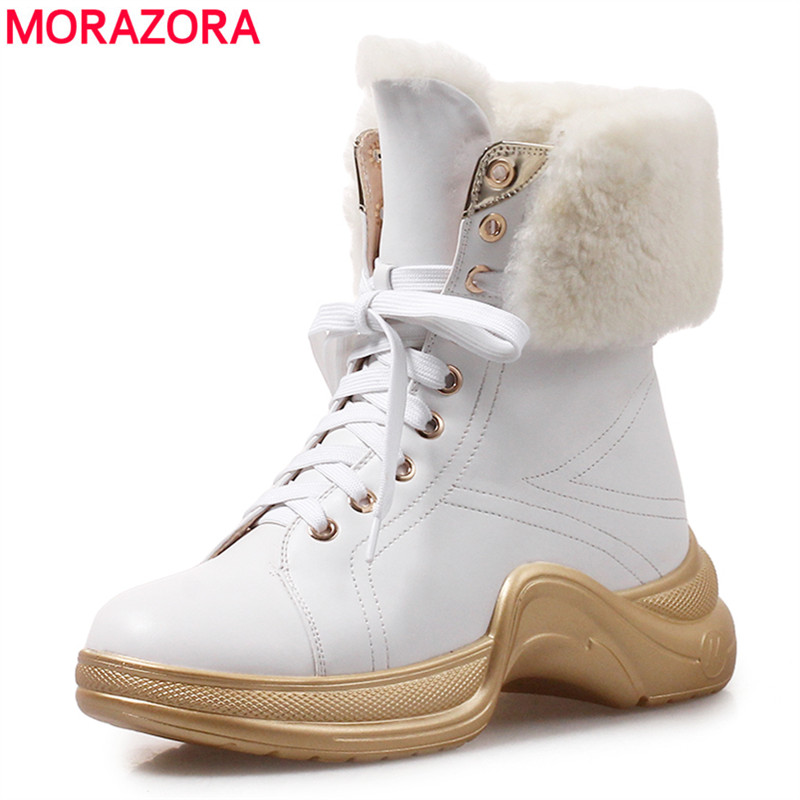 MORAZORA 2018 New fashion high quality genuine wool warm snow boots lace up platform ankle boots for women winter shoes