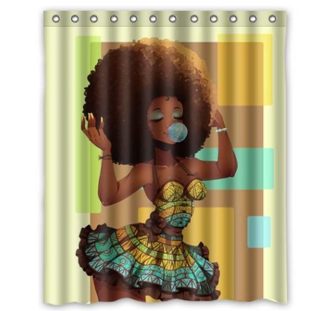 Waterproof bathroom curtains - Polyester Shower Curtain African Woman Pattern Waterproof Bathroom Curtains Bath Bathing Sheer 150x180cm Shower Curtains