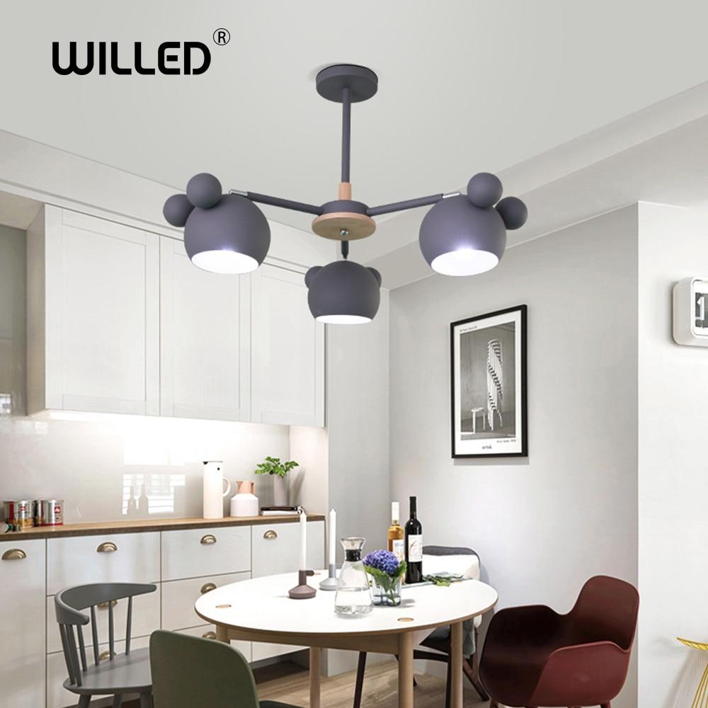 Children's Chandelier Wood Mouse Hang Wall Lamp Nordic Modern Minimalist Fashion Cartoon Creative Solid Corridor Bedroom