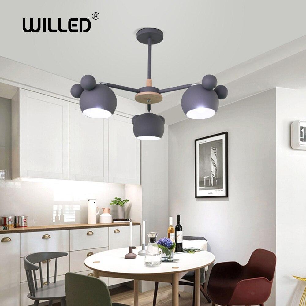 Lustre enfant bois souris accrocher applique nordique moderne minimaliste mode dessin animé créatif solide couloir chambre