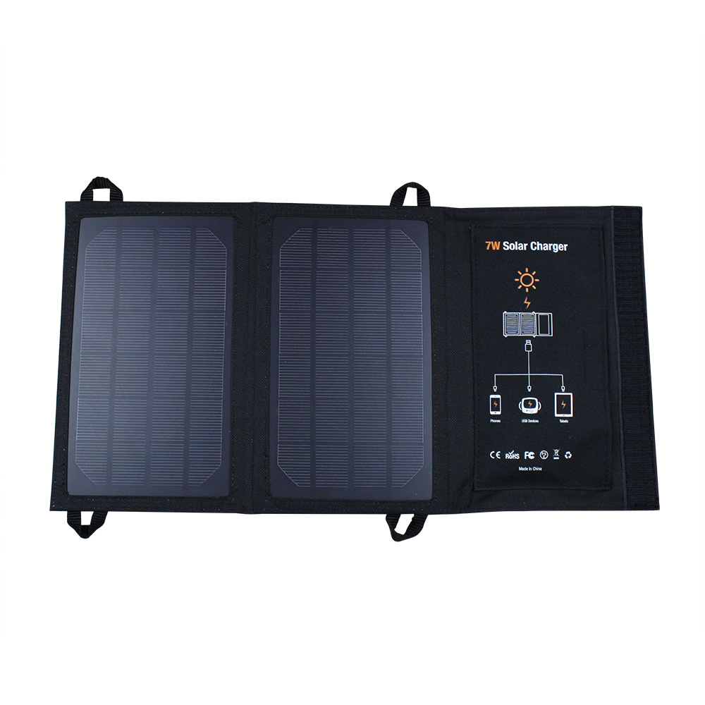 цена на Wama 7W Portable Waterproof 5V Solar Panels USB Ports Charger Power Bank