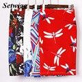 Setwigg 18 padrões de moda feminina impresso lápis na altura do joelho saias floral/mosca do dragão/paleta geométrico hip pacote lápis midi saias