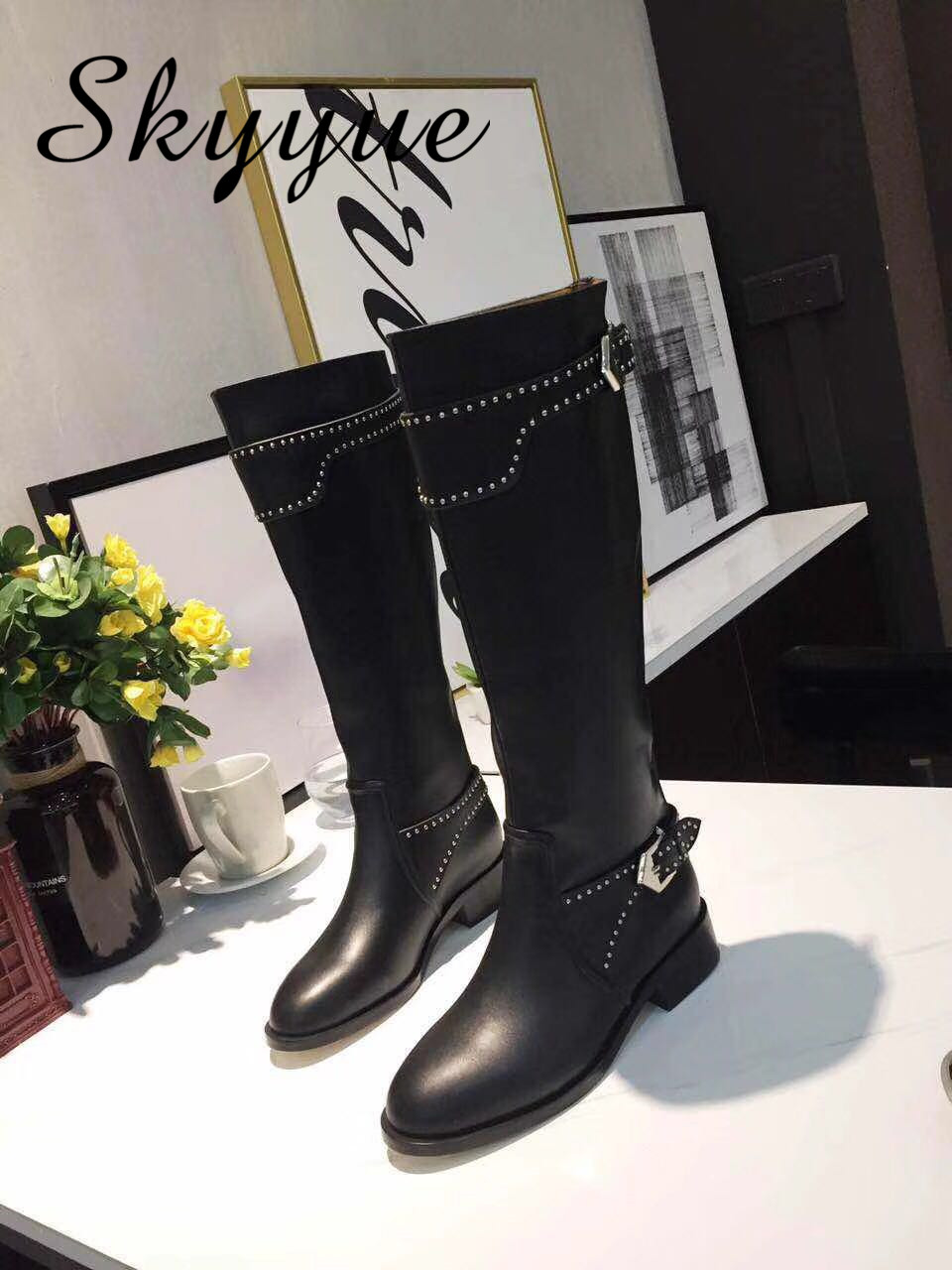 SKYYUE New Genuine Leather Metal Dot Studded Women Boots Round Toe Knee HIgh Women Autumn Winter Boots Low Heel Shoes Women michael kors new navy blue women s size xs studded hi low crewneck sweater $130