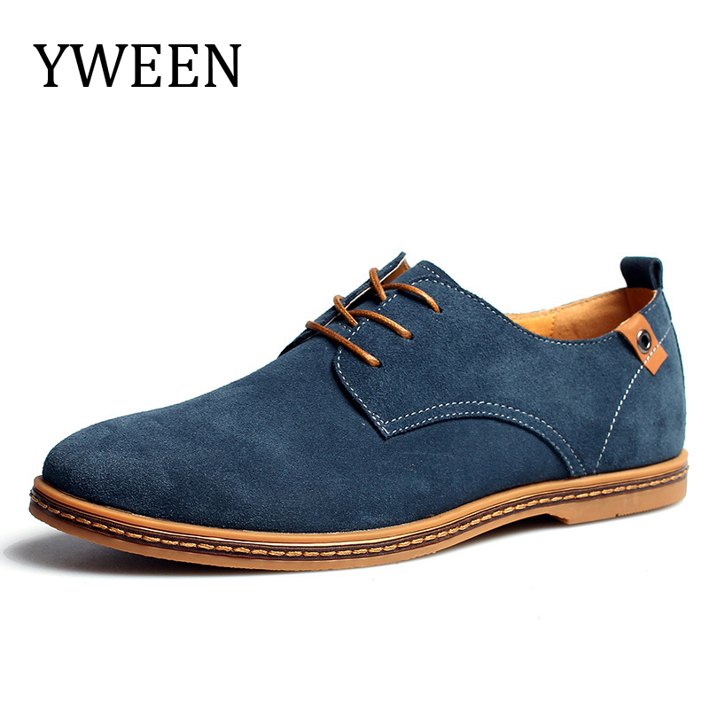 YWEEN Top Fashion Casual Shoes For Men Spring and Summer Nubuck Leather Flock Promotion Oxford Derby Shoes Large size