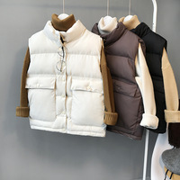 Autumn Winter Woman Stand Collar Thick Jackets Coats Beige Fashion Solid Black Pocket Casual Down Coats