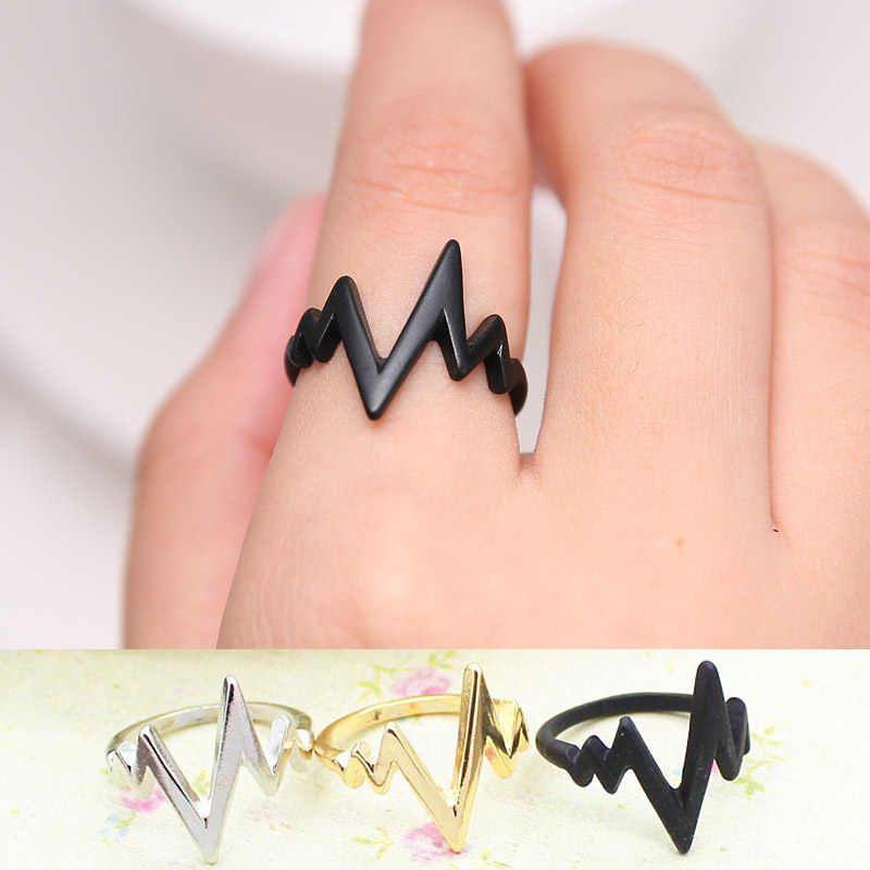 Gold Silver Wave Ring For Women Jewelry Party Wedding ECG Pulse Ring Black Men Anillos Mujer Bague Femme Valentine's Day Gifts