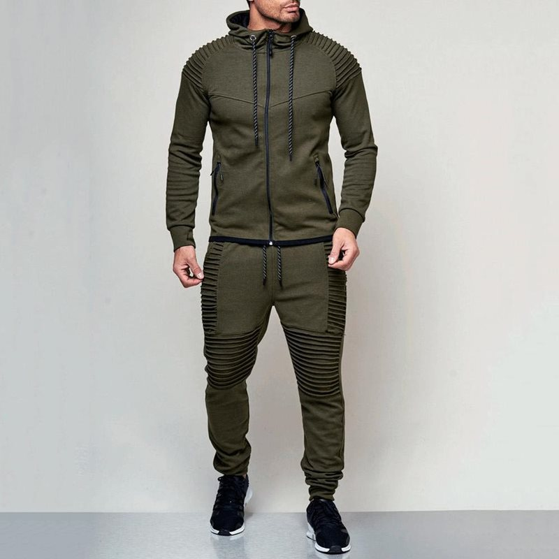 2 Pieces Tracksuit Men Autumn Winter Hooded Sweatshirt Pants Male Stripe Patchwork Hoodies Casual Sprorts Outfit Set
