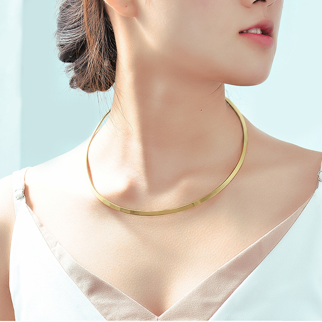 Factory Price High Quality Stainless Steel  Women Chokers Necklaces Simple Fashion Design Jewelry Women Accessories