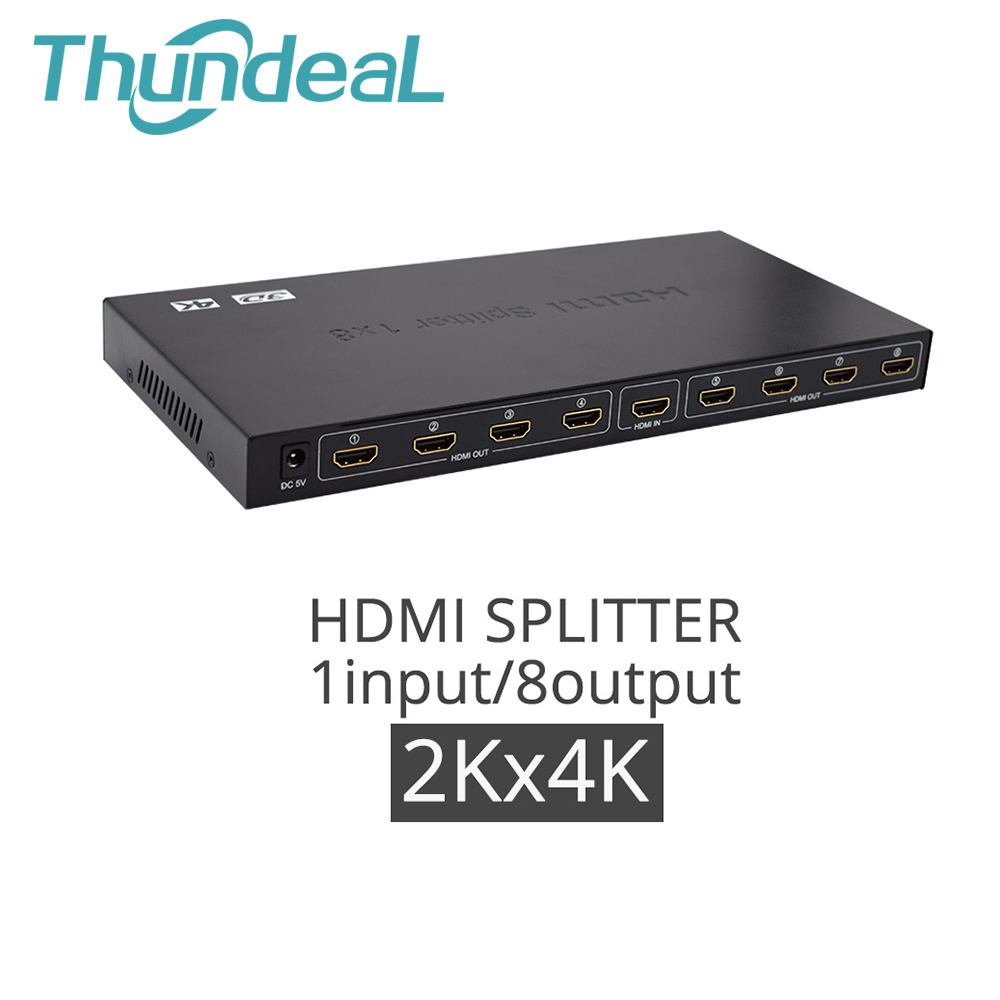 Full HD HDMI Splitter 1080 P 2 k * 4 K Video HDMI 1X4 1X8 Split 1 En 4/8 Out Dual Display fuente de alimentación No interruptor para HDTVDVD PS3 Xbox
