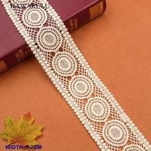 HAWARULU 2yard 7.7cm DIY wheel embroidery lace High quality cotton yarn code water-soluble fabric Handmade festival accessories