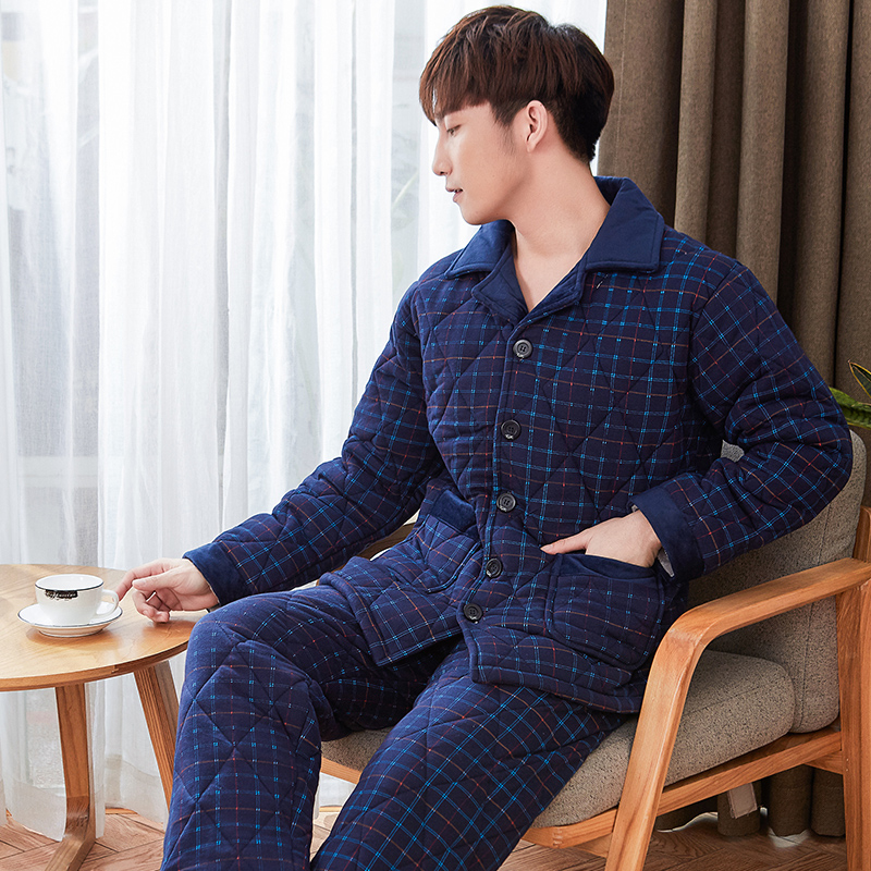 New Arrival Men Cotton Quilted Pajama Sets Winter Men Pajama Sets 3 Layers Thick Warm Male Sleepwear Long Sleeve Men Lounge Set