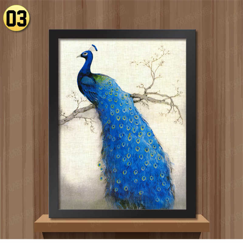 White Black Frame retro peacock pictures for bedroom Modern home decoration wall art animal painting on the wall