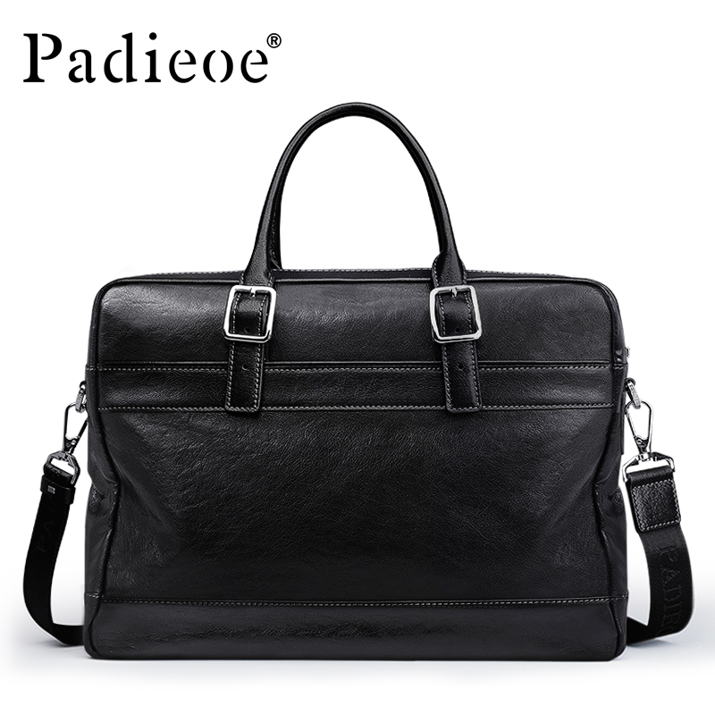 Padieoe Briefcase Business Tote Laptop-Bag Vintage-Design Genuine-Leather 15-Inches Casual