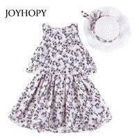 JOYHOPY Weddding ילדה נסיכת שמלה עבור המפלגה פרחים 2 יחידות (שמלה + כובע) ילדי בגדי ילדים קיץ באביב בנות Clothes3-10Y