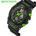 2016 Nova Marca de Relógios Choque Esporte Militar Relógios Para Homens PU Pulseira de Relógio À Prova D' Água Dual Time Digital-Relógio relojes hombre