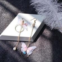 Korean Fairy Yarn Butterfly Long Earrings AsymmetricButterfly Imitation Pearl Earrings Alloy Circle Rhinestone Trendy Earring pair of rhinestoned alloy butterfly earrings