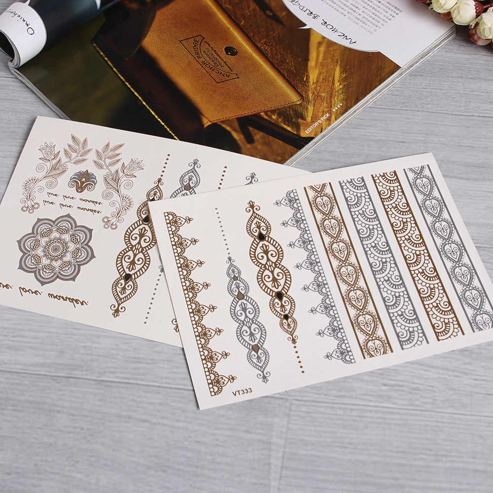 Gold Silver Color Temporary Leaf Flower Tattoos Removable Metallic Sex Products Jewelry Henna Tatouage Body Art Tatto Stickers