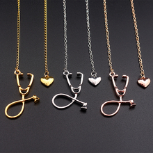 3 Colors Rose Gold/Gold/Silver Stethoscope Lariat Heart Pendant Necklace Newest Nurse Medical Necklace Collares Bijoux Femme