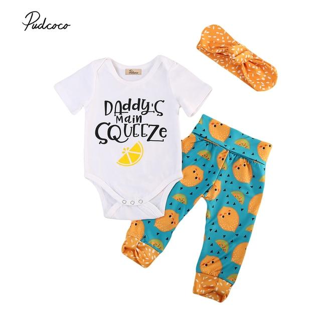 fb30d0b87a0a 3Pcs Baby Lemon Clothes set Newborn Baby Girls Romper Bodysuit Pants Leggings  Outfits Set Autumn Spring