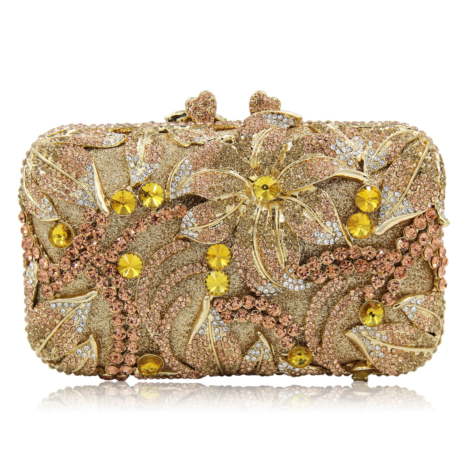 2018 New Luxury Ladies Clutch Evening Bags Gold Crystal Flower Clutch Bags Banquet Bags Women Soiree Handbag Bling Prom Bag