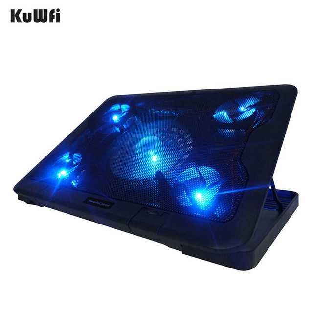 5 LED Fans Plastic Notebook Cooling Pad 6 Steps Adjustable Tablet Laptop Cooler Suit For 15.6 Inch And Below With 2 USB Port