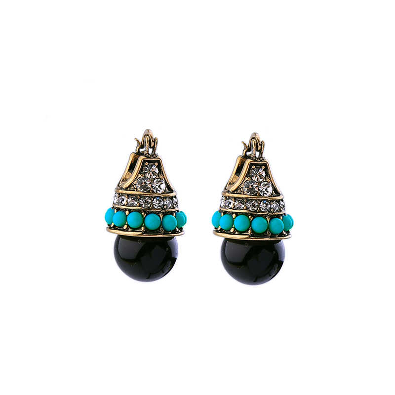 Hot Sale Women Vintage Earring Stud Zircon Acrylic Blue Beads Fashion Indian Earring Antique Gold Color