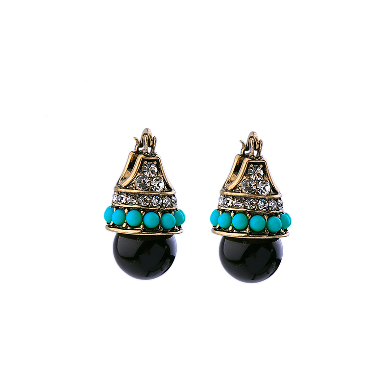 Hot Sale Frauen Vintage Ohrring Stud Zirkon Acryl Blue Beads Mode Indische Ohrring Antik Gold Farbe