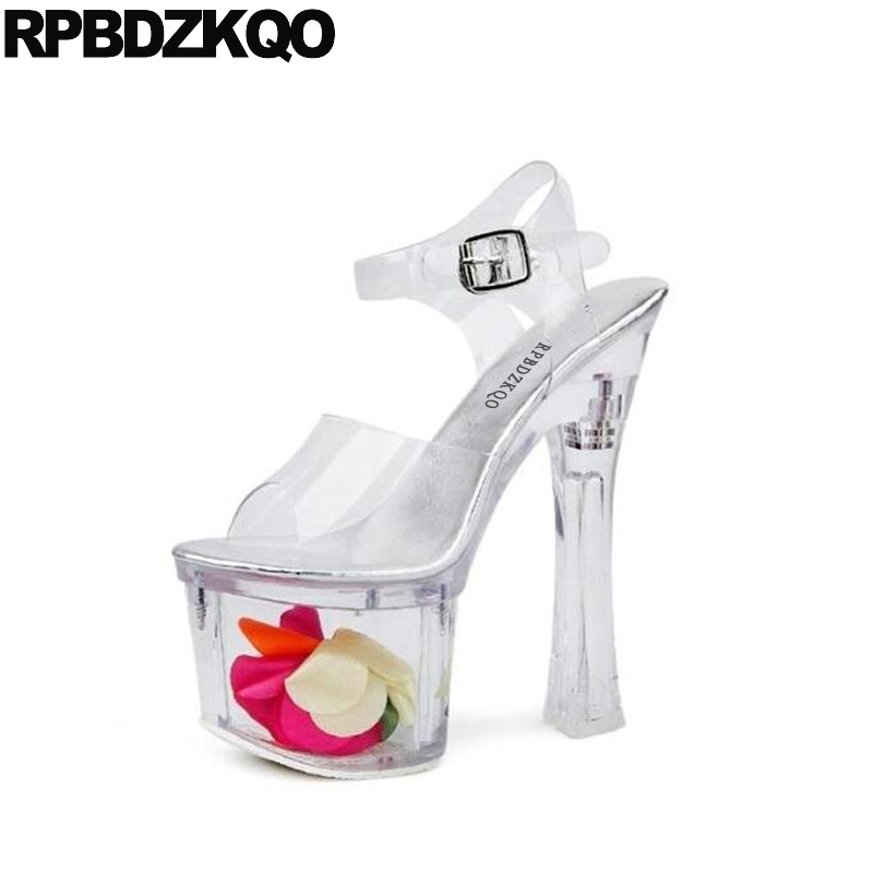 ladies clear luxury thick exotic dancer transparent cinderella 18cm sexy high heels flower glass slingback shoes stripper pumpsladies clear luxury thick exotic dancer transparent cinderella 18cm sexy high heels flower glass slingback shoes stripper pumps