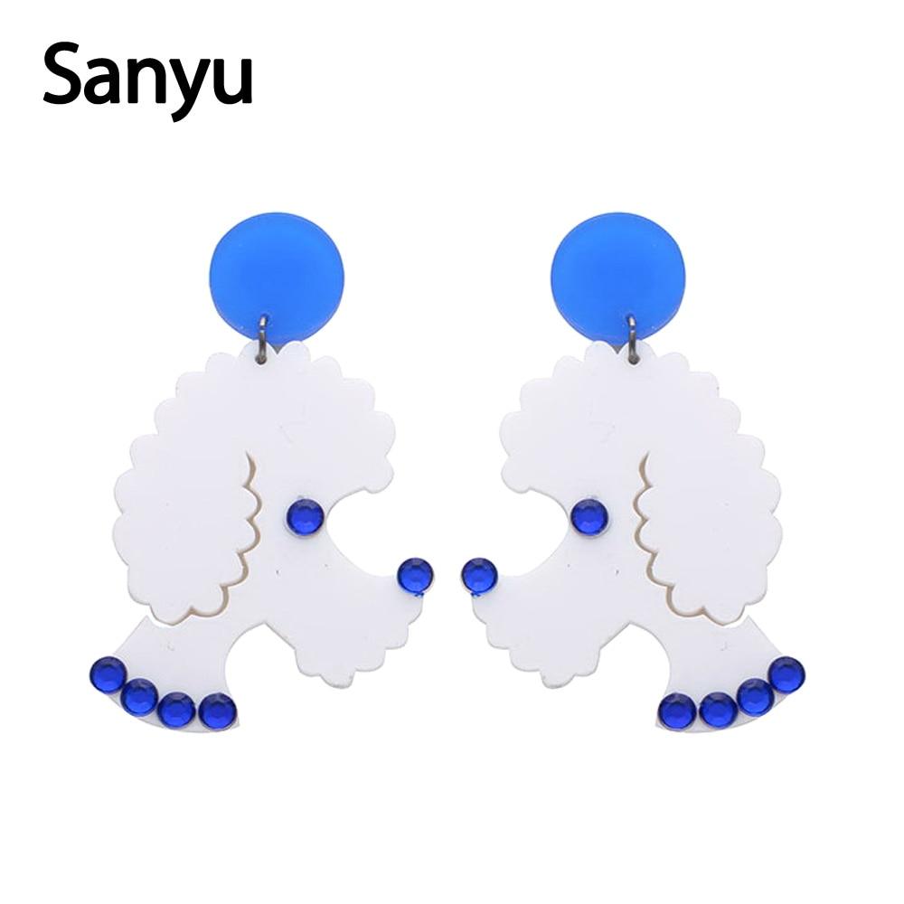 Lovely Poodle Acrylic Drop Earrings For Women Girls Fashion Animal Dog Earrings Jewelry DIY Crystal Glued Trendy Dangle Earrings