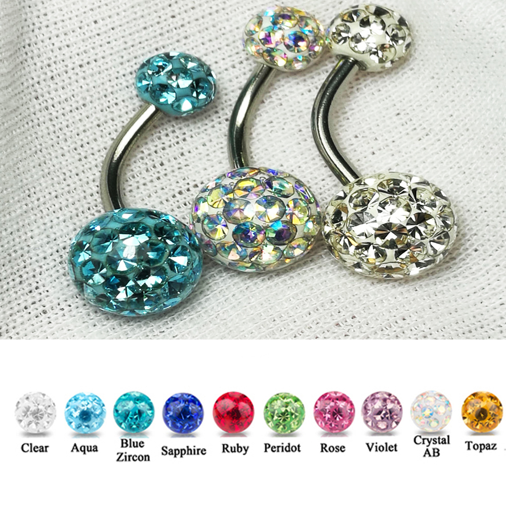 1PC CZ Crystal Ferido Double Epoxy Balls Belly button Ring Charming CZ Crystal Navel Piercing Nombril Ombligo Stud Earrig