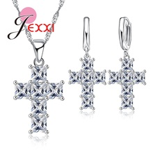 JEXXI Luxurious Cross Design Christians Best Christmas Gifts 925 Silver Jewelry Set With Full Square Cut Cubic Zirconia Crystal