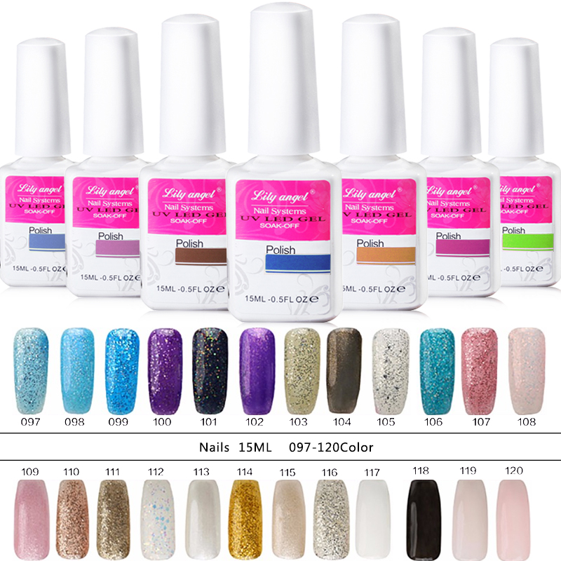 Lily angelo 94-120 15 ml / pcs bling colorato LED UV gel per unghie - Manicure