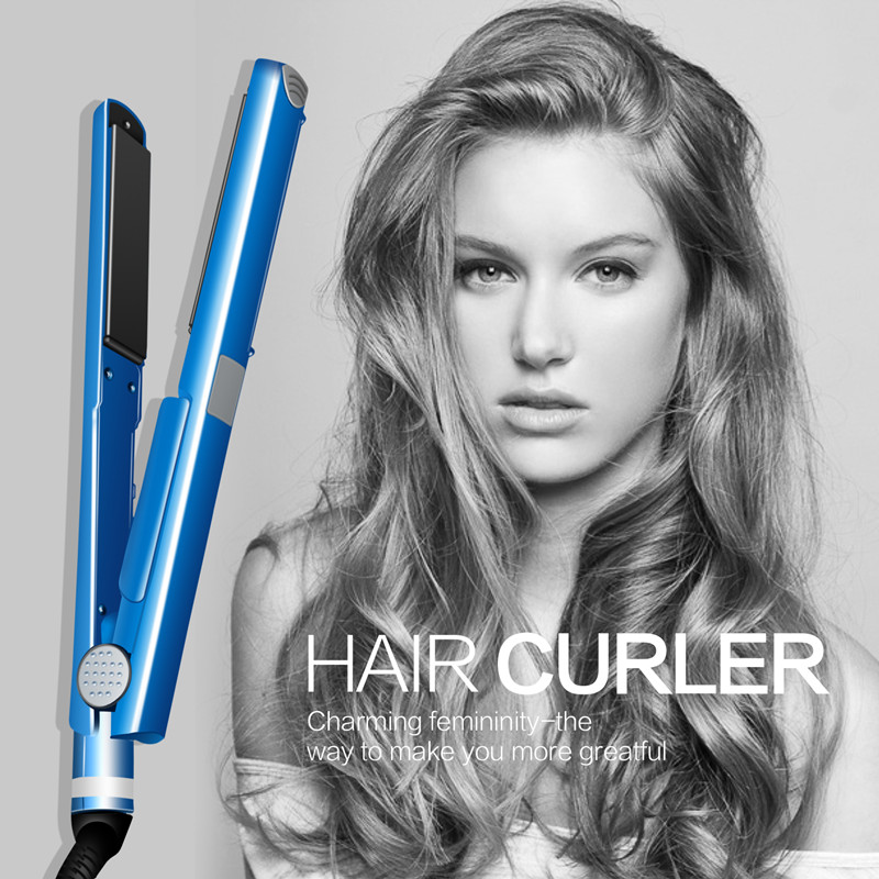 Pro Nano Titanium Plate 2 IN 1 Professional Hair Straightener Flat Iron Curling Irons Curlers Hair Styling Tools Blue 5