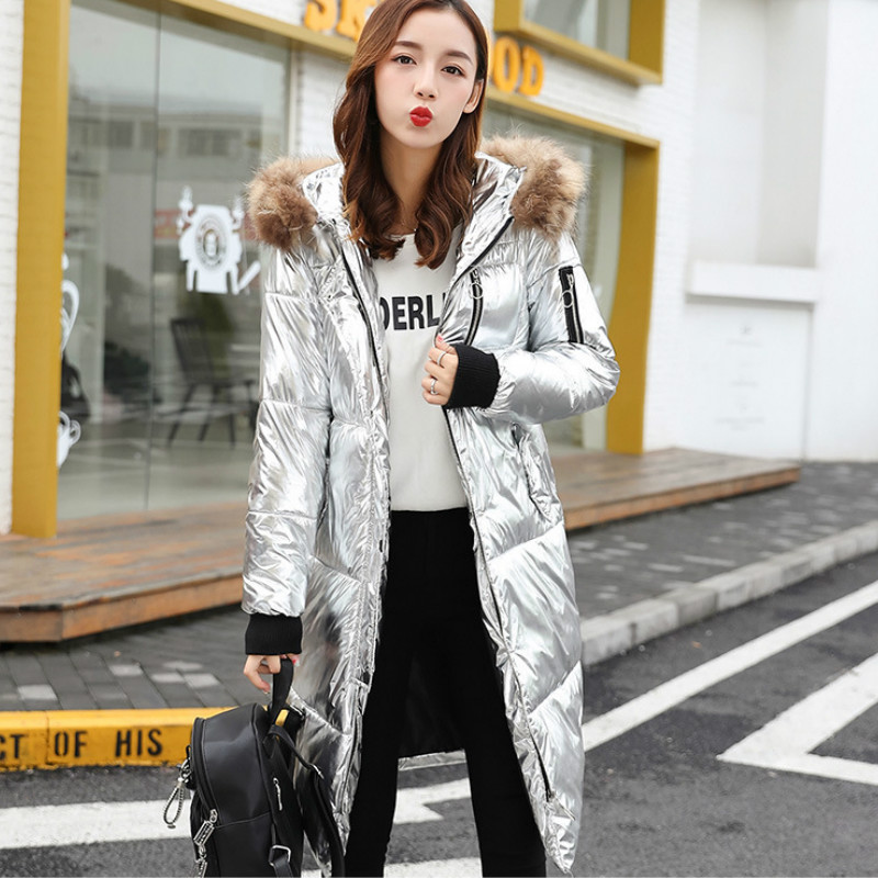 Faux Fur Collar Metal Color Hooded Parka Cotton Padded Coat Golden Silver Bright Down Jacket Long