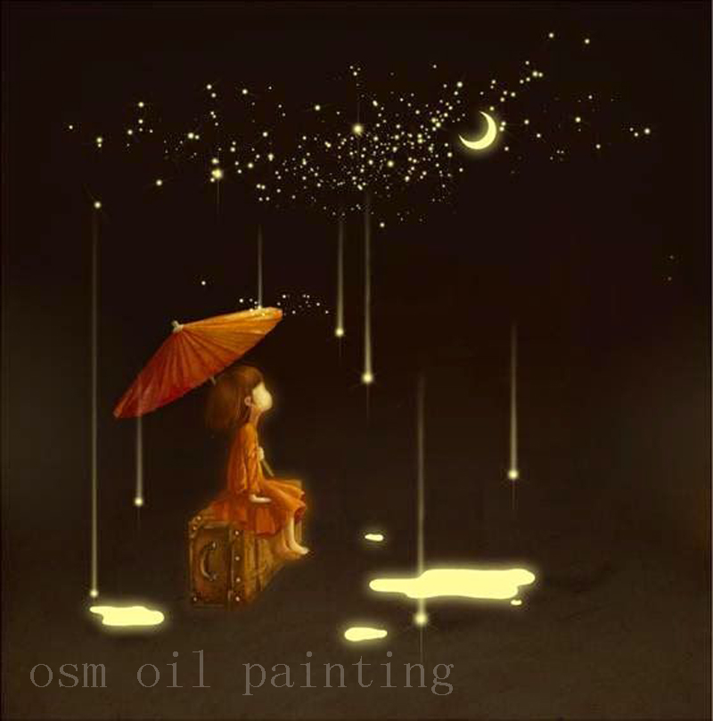 Handmade Calligraphy Christmas Gifts Canvas Painting Kid with Umbrella in Meteor Shower Day Wall Art Oil Painting for Kids Room