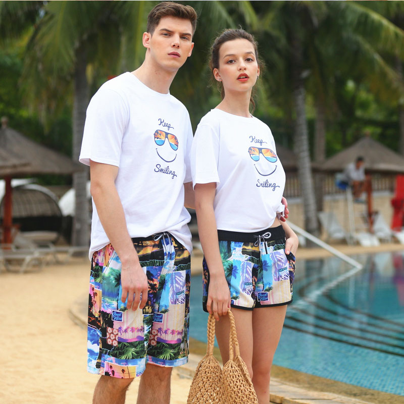 New Couple Camo Loose Beach Shorts men's women Quick Dry Flat angle Sea Bathing Swim Surf Board Shorts Large Size Ladies image
