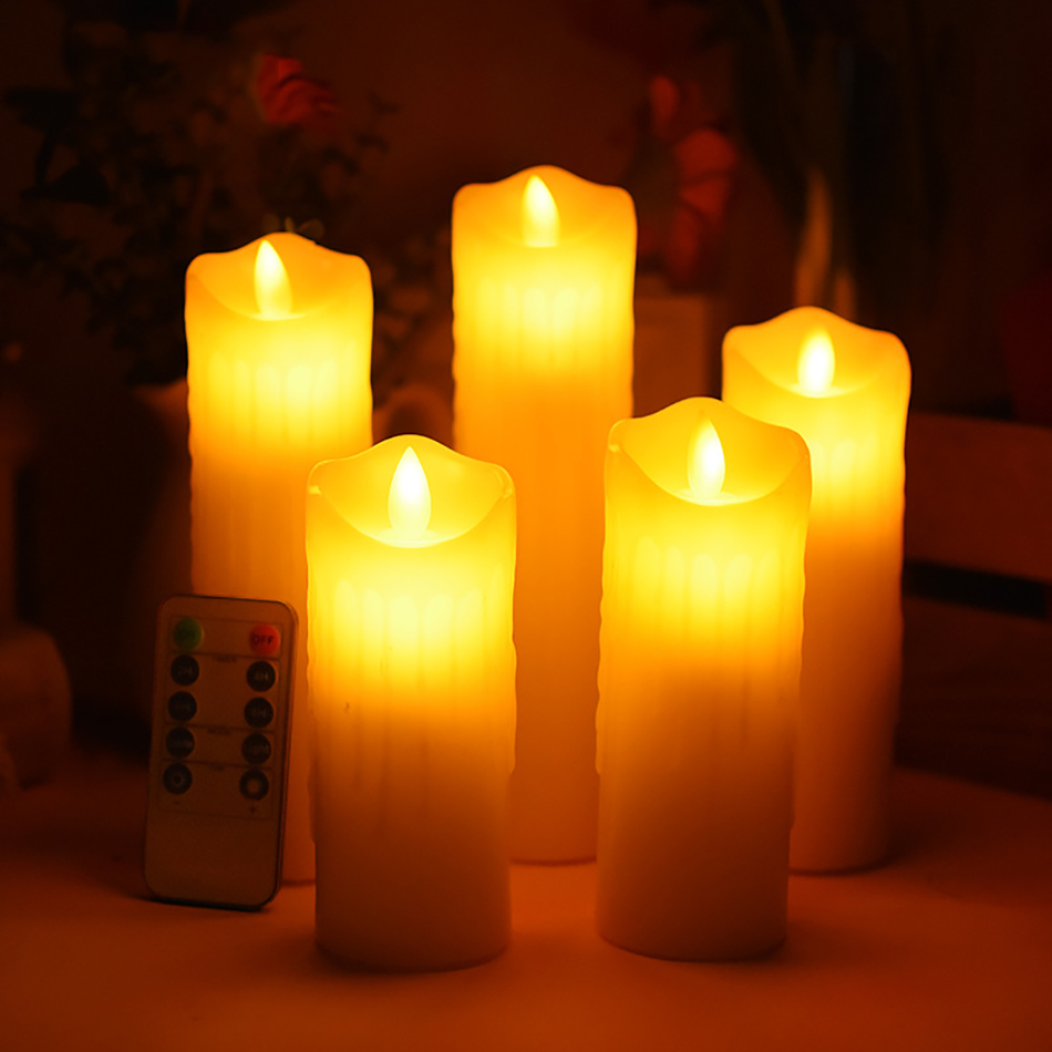 Flameless led candle made by real wax with dancing flame, Set of 5 wax candles for wedding decoration,Holiday light/Home Decor.