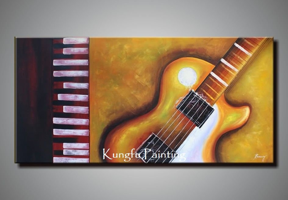 100% Hand Painted Discount Huge Abstract Music Paintings Canvas Guitar  Painting Unique Gift 2012 Home Decor Decoration Painting In Painting U0026  Calligraphy ...