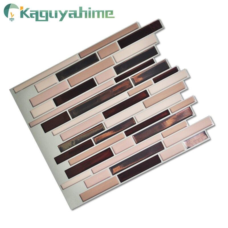 Kaguyahime 10Pcs Kitchen Wallpaper Self Adhesive Mosaic Tiles Waterproof Wallpaper Wood Pattern 3D Peel Decor Kitchen Stickers