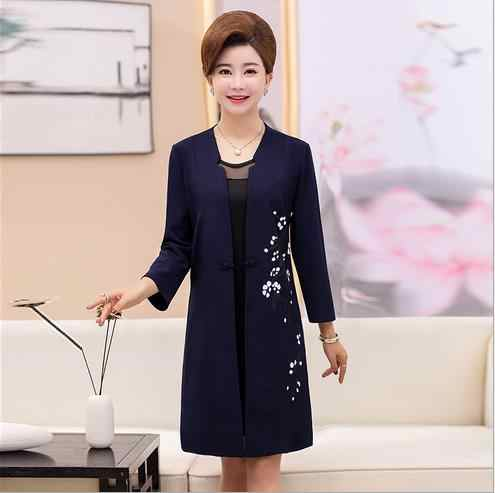 Clobee 2018 Autumn Two Piece Women Dress Embroidery Flower V-Neck Vintage  Middle Aged Women 6acf36ad4950