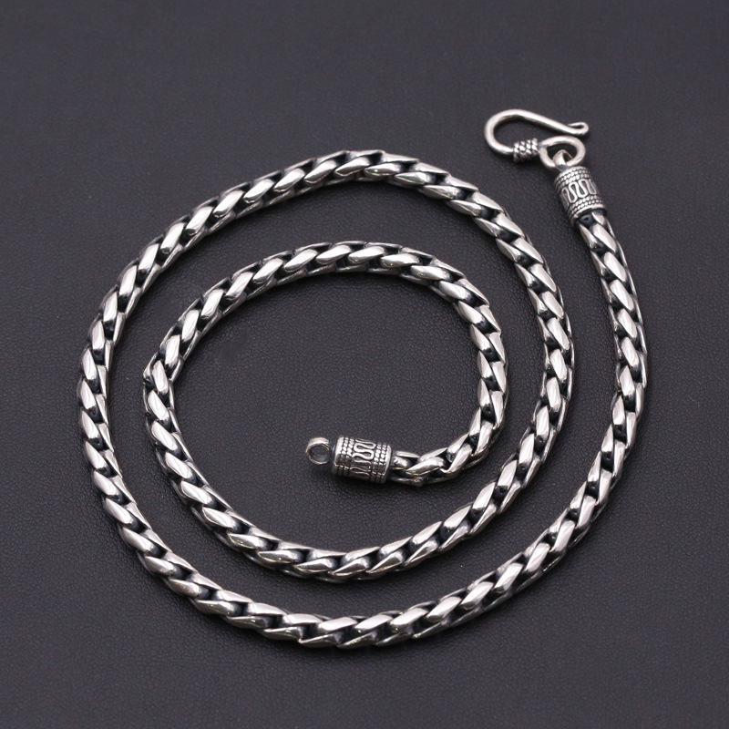 Fashion S925 Sterling Silver Retro Thai Silver Vintage Punk Style Custom Made Jewelry Chiang Mai Handmade Necklace Men And Women punk style silver plated etched star circle pendnat necklace for men