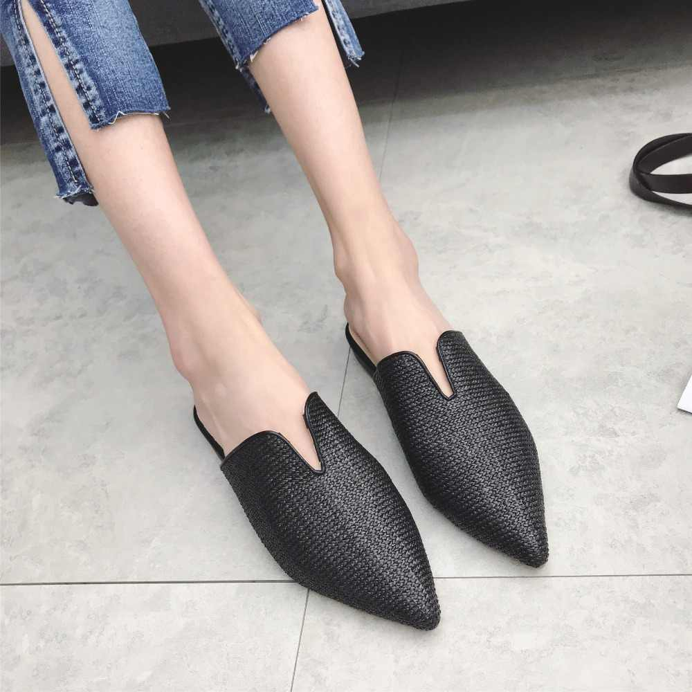 Женские балетки с острым носом, соломенные сандалии на плоской подошве, шлёпанцы, летние тапочки, удобные Размеры 35-40