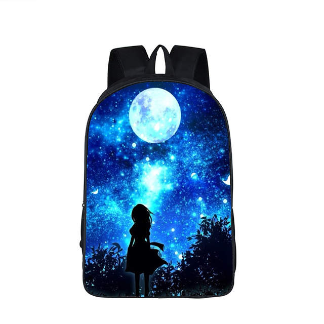placeholder Galaxy Backpack for Teenage Girls Boys Universe Space Children  School Bags mochila feminina Wolf Book Bag