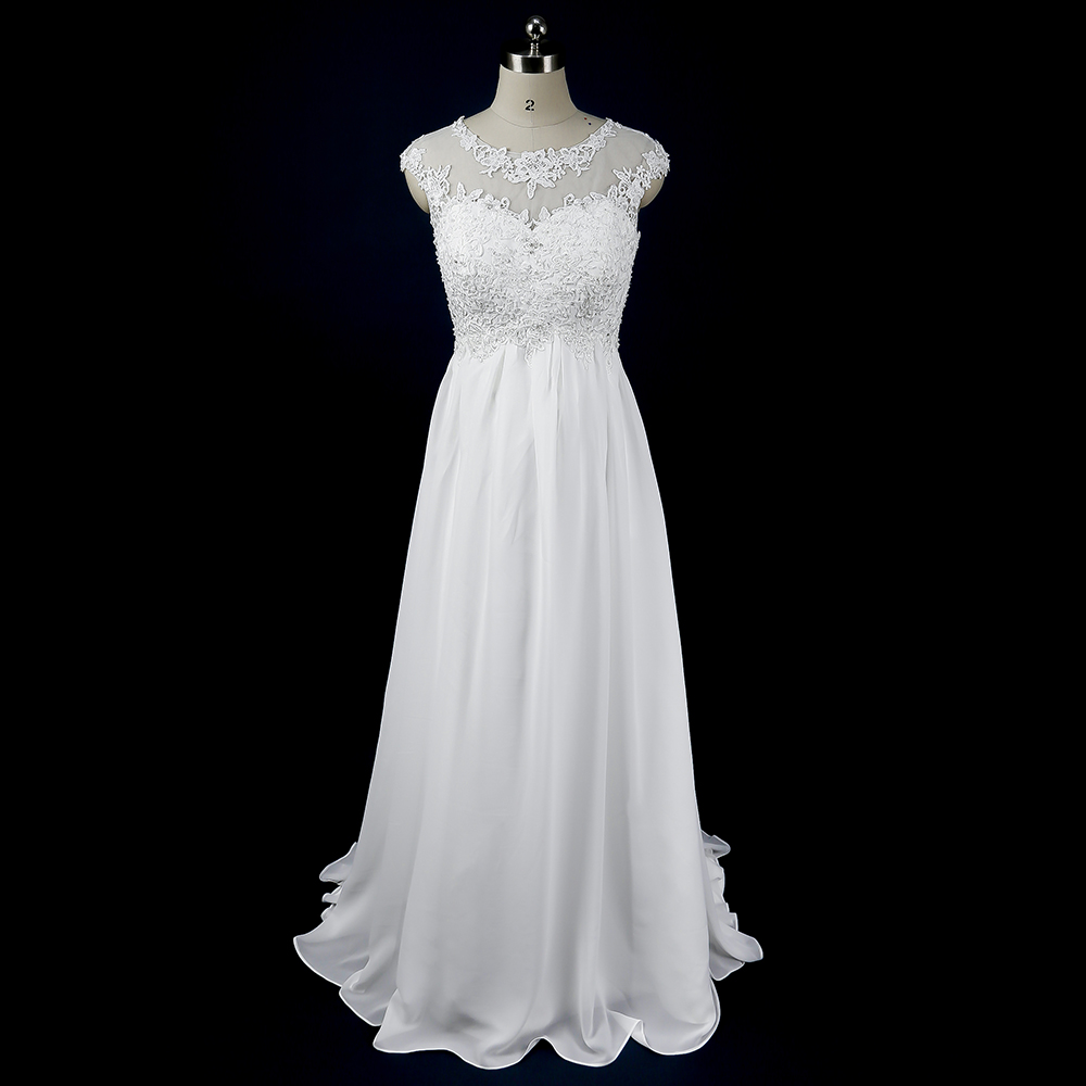 Cheap White Maternity Wedding Dresses: Maternity Simple Wedding Dress Cheap Empire Lace Chiffon