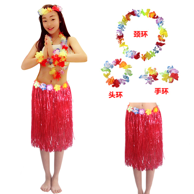 5pcs Set 60cm Women Hawaiian Hula Skirt Suit Lady Dance Grass Dress Adult Hawaii Beach