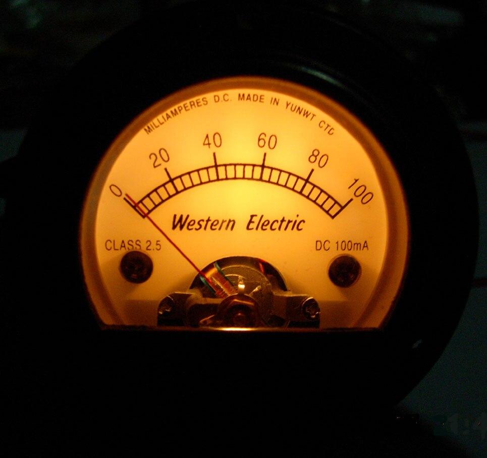 S52 rond noir pointeur ampèremètre 100MA DC jaune rétro-éclairage classique, EL34 KT66