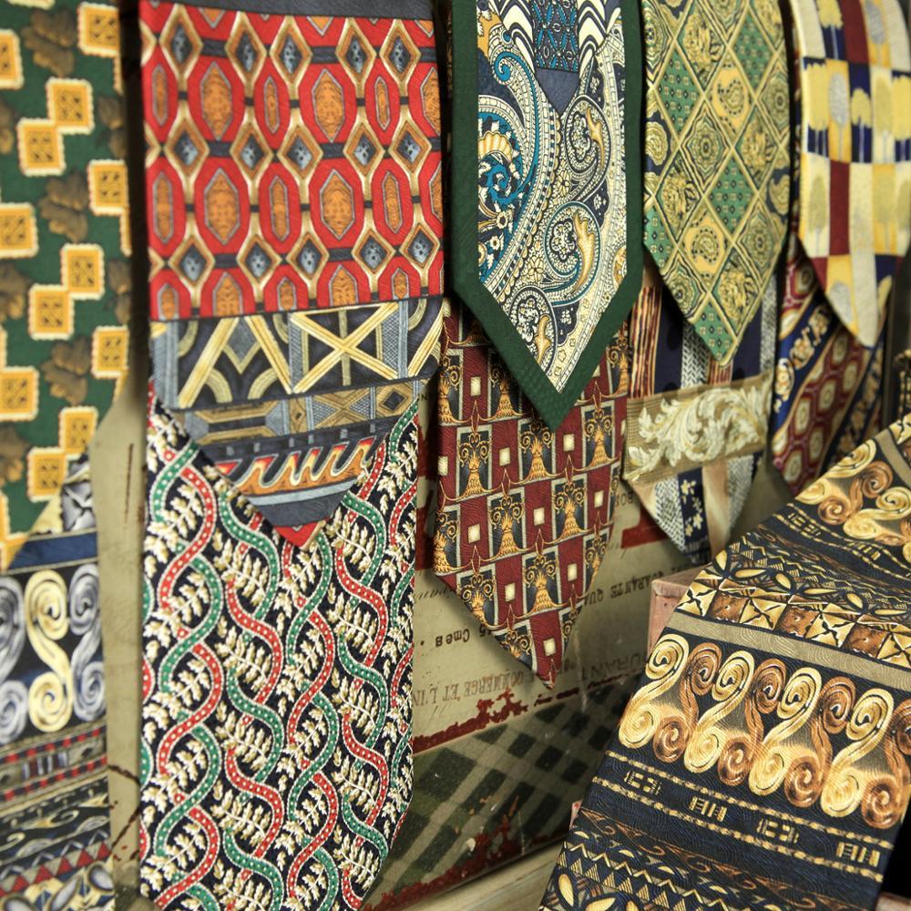 Mens Neckties Ties Printed 100% Silk Vintage Floral Abstract Character Geometrical Paisley Multicolor Printing Elegant Handmade