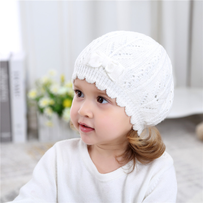 3eb48eee Knitted White Baby Beret Hat For Girls Bow Pricess Baby Beanie Double Layer  Autumn Winter Girls